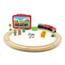 Wooden Train Set in Tin Carry Case