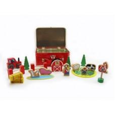 Farm set in tin case