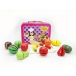 Wooden Fruit Cutting Set in Tin Carry Case