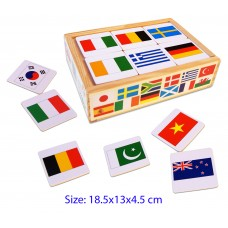 Wooden Memory Game Flags of the World